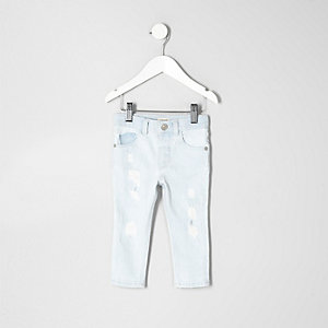 Mini boys light blue bleach Sid skinny jeans