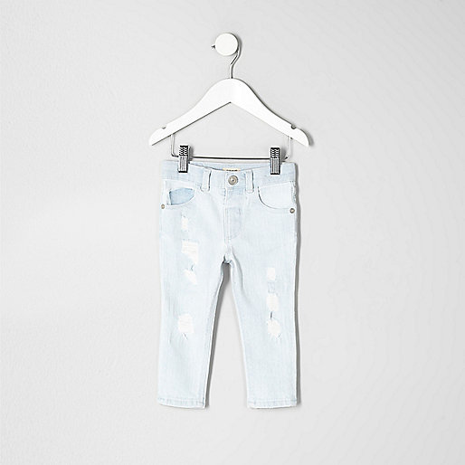 Mini boys light blue bleach Sid skinny jeans