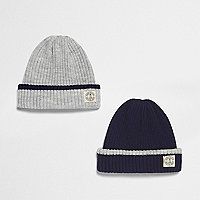 Boys grey and navy beanie pack