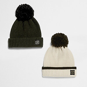 Boys khaki and cream bobble hat pack