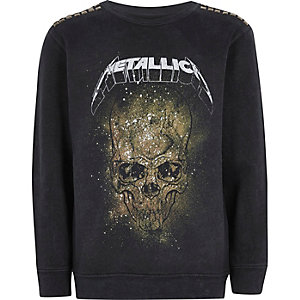 Boys black Metallica band sweatshirt