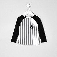 Mini boys white stripe baseball T-shirt