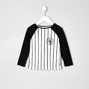 Mini boys white stripe baseball T-shirt