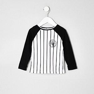T-shirt de baseball à rayures blanc mini garçon