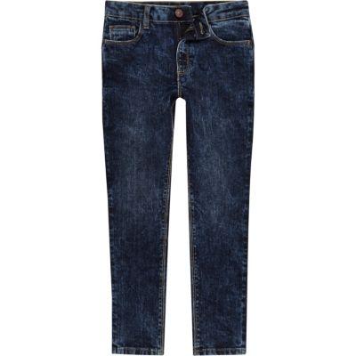 Sid Donkerblauwe acid wash jeans voor jongens