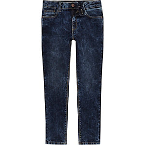 Boys dark blue acid wash Sid jeans