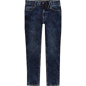 Sid - Donkerblauwe acid wash jeans voor jongens