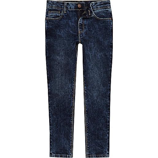 Boys dark blue acid wash Sid jeans