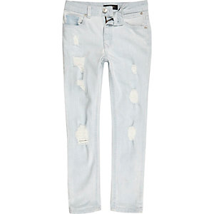 Boys light blue bleach wash Sid skinny jeans