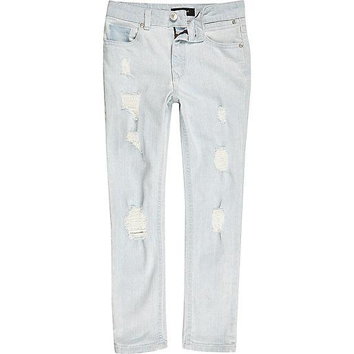 Boys light blue bleach wash Sid skinny jeans