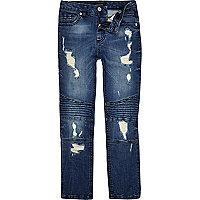 Boys blue Sid ripped biker skinny jeans