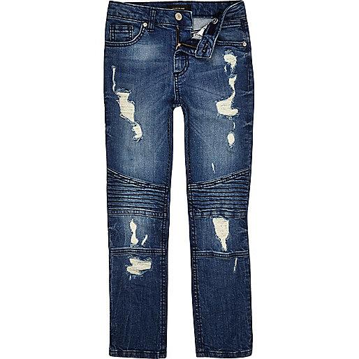 Boys blue Sid ripped biker skinny jeans - slim jeans - jeans - boys