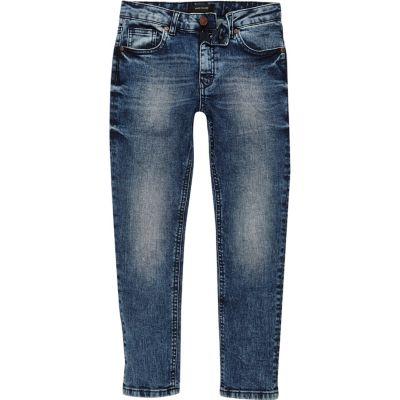 Dylan blauwe slim-fit jeans met adelaarspatch voor jongens