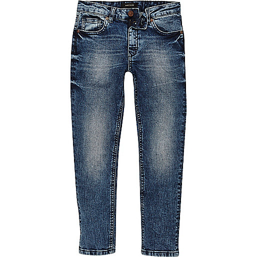 Boys blue eagle patch Dylan slim fit jeans