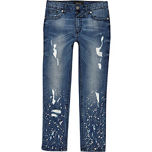 Boys blue Dylan ripped paint slim fit jeans