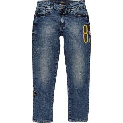 Dylan Blauwe geborduurde slim-fit jeans voor jongens