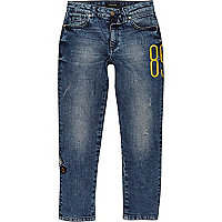 Boys blue Dylan embroidered slim fit jeans