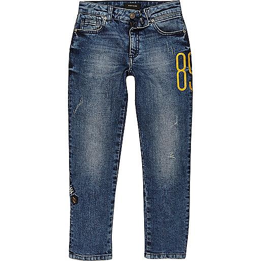 Boys blue Dylan embroidered slim fit jeans