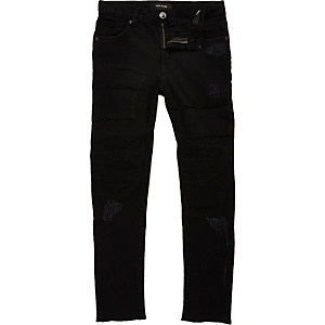 Boys black Sid ripped skinny jeans