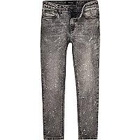 Boys grey Sid paint splatter skinny jeans