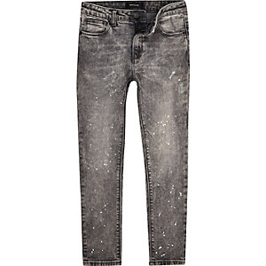 Boys grey Sid paint splatter skinny jeans