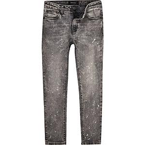 Sid – Jean skinny gris à éclaboussures de peinture pour garçon