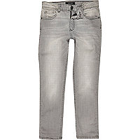 Boys light grey Dylan faded slim fit jeans