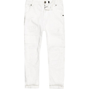 Boys white Tony ripped slouch fit jeans