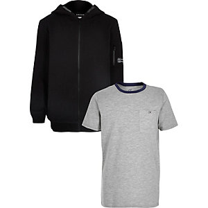 Boys black hoodie and grey T-shirt set