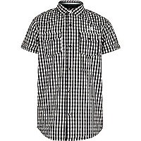 Boys black gingham short sleeve shirt