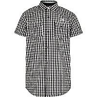 Chemise à carreaux vichy noire avec manches courtes pour garçon
