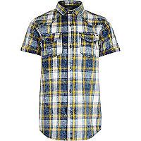 Boys blue and yellow check short sleeve shirt