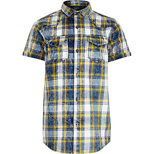 Boys blue and yellow check short sleeve shirt