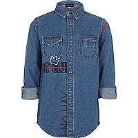 Boys blue riot club embroidered denim shirt