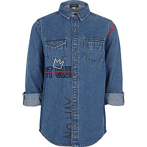 Boys blue riot club embroidered denim shirt