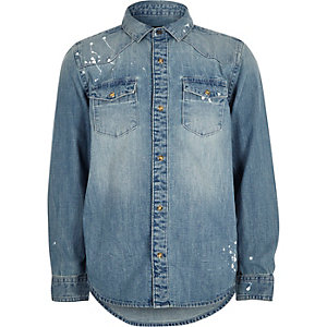 Boys blue wash bleach splatter denim shirt