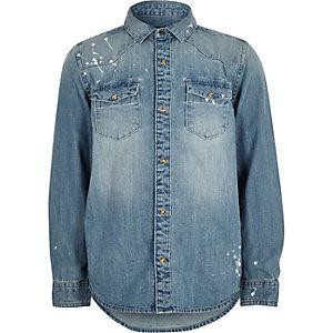 Chemise en jean bleu délavé effet éclaboussures pour garçon
