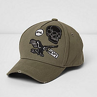 Boys khaki green distressed badge cap