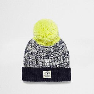 Navy twist knit bobble hat