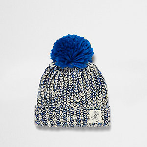 Mini boys blue twist knit bobble knit
