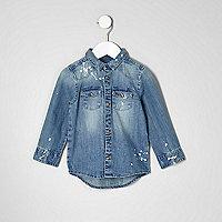 Mini boys blue bleach splatter denim shirt