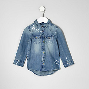 Mini boys blue bleach splatter denim shirt