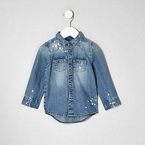 Chemise en jean bleue délavée effet éclaboussures mini garçon