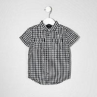 Mini boys white gingham short sleeve shirt