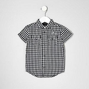 Mini - wit overhemd met gingham-ruit en korte mouwen voor jongens