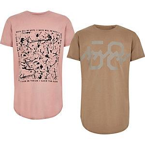 T-Shirts in Pink und Braun im Set