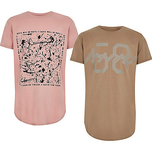 Boys pink and brown T-shirt pack