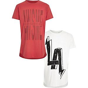 T-Shirts in Rot und Weiß im Set