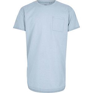 T-shirt bleu pâle à ourlet arrondi pour garçon