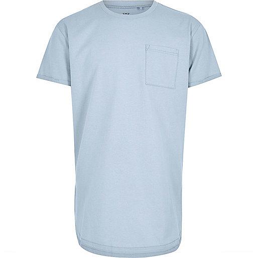 Boys pale blue curved hem T-shirt